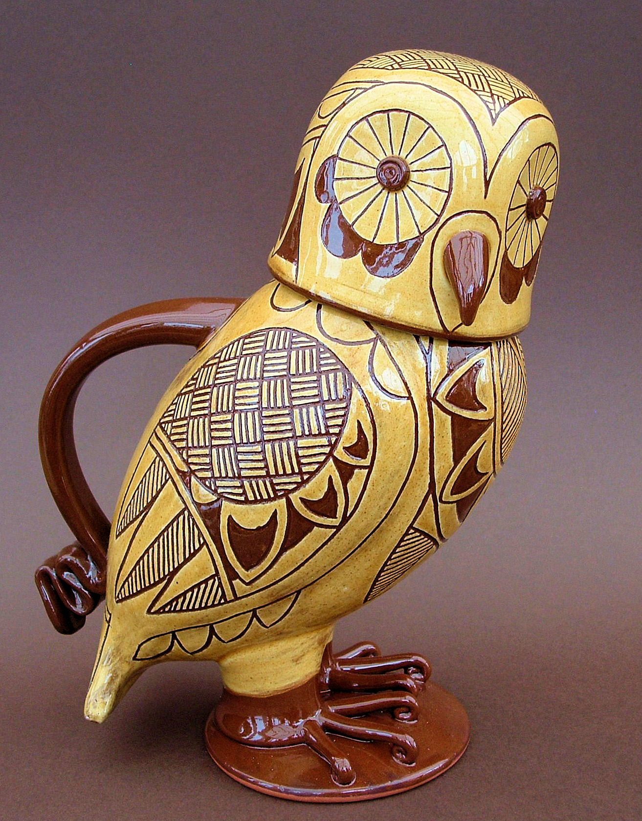 "2 Tone Lidded Owl Jug 10"" tall"