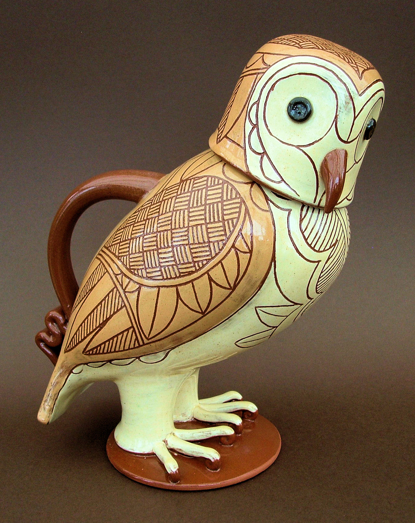 "Lidded Barn Owl Jug 10"" tall"