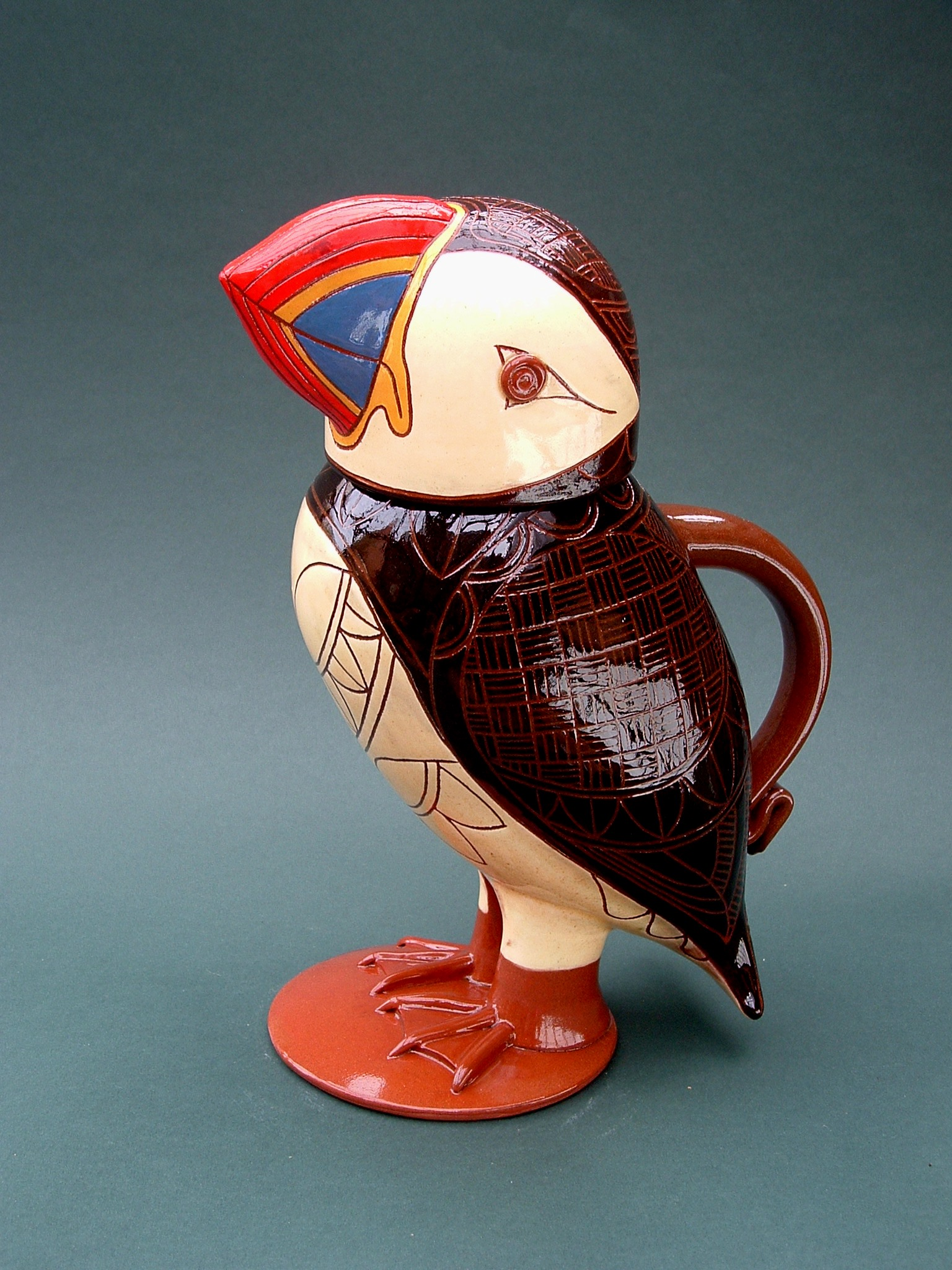 "Puffin jug 11"" tall"